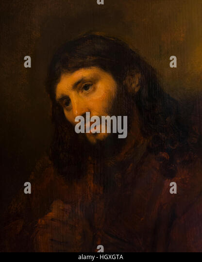 Head of Christ, by Rembrandt, circa 1648, Rembrandt House Museum,  Rembrandthuis,  Amsterdam, Netherlands. - Stock Image