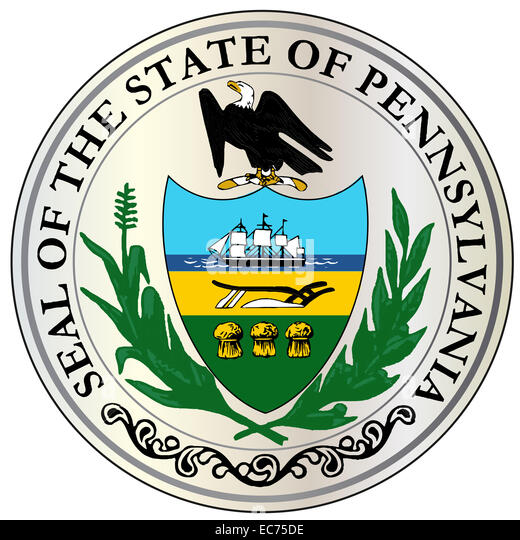 The great seal of the USA state of Pennsylvania over a white background - Stock Image