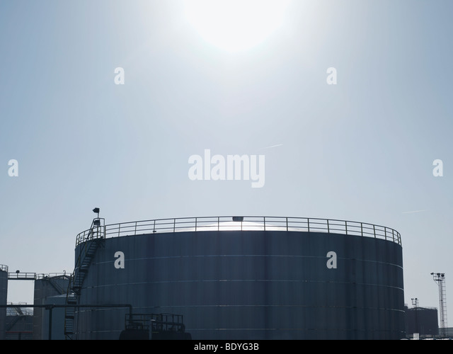 Industrial Oil Tank At Port - Stock Image