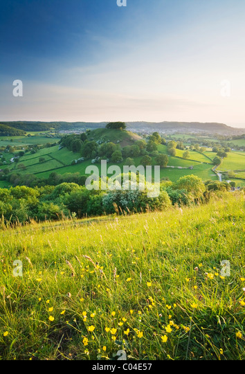 Downham Hill from Uley Bury. The Cotswolds. Gloucestershire. England. UK. - Stock Image