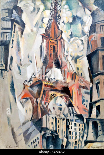 Eiffel Tower, by Robert Delaunay, 1911, Solomon R. Guggenheim Museum, Manhattan, New York City, USA, North America - Stock Image