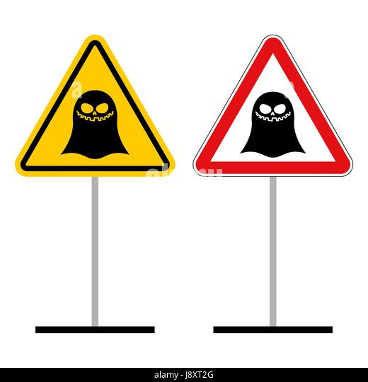 Warning sign attention ghost. Hazard yellow sign supernatural creature. Ghost on red triangle. Set of Road signs - Stock Image
