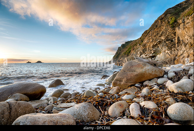 The beach at Porth Nanven Cove near Lands End in Cornwall - Stock Image