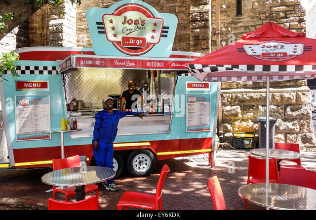 Cape Town South Africa African City Centre center Government Street Joe's Easy Diner food truck restaurant mobile - Stock Image