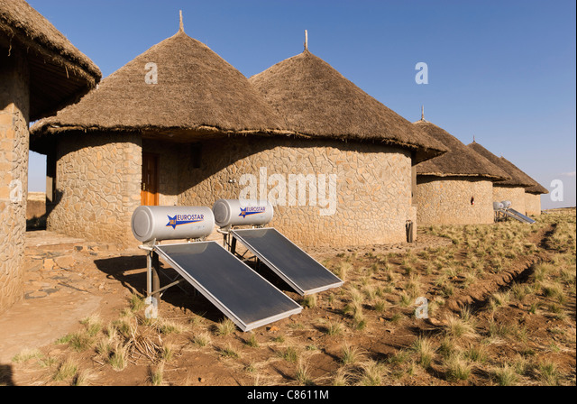 Elk200-2387 Ethiopia, Simien Mountains National Park, Simien Mountain Lodge, guest bungalows with solar water heaters. - Stock Image