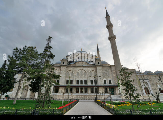 Exterior low angle shot of Fatih Mosque before dusk. An Ottoman imperial mosque located Fatih district, Istanbul, - Stock Image