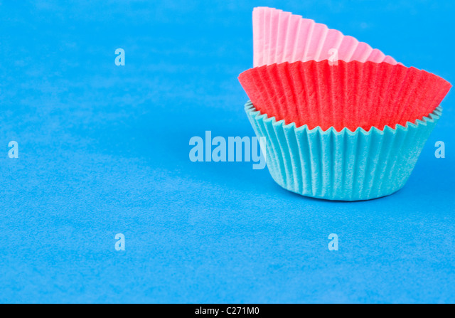 Assorted Colours Cake Cases - Stock Image