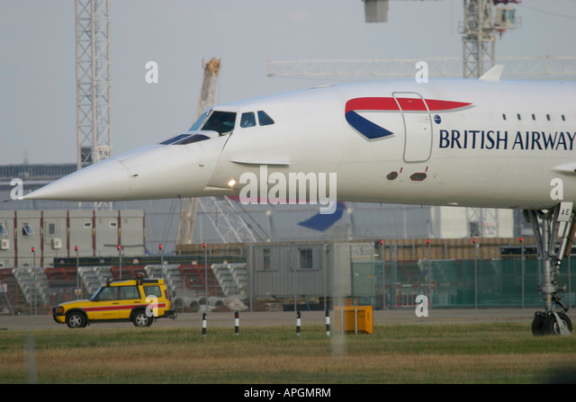British Airways Aerospatiale-British Aerospace Concorde 102  taxiing for departure at London Heathrow Airport UK - Stock Image