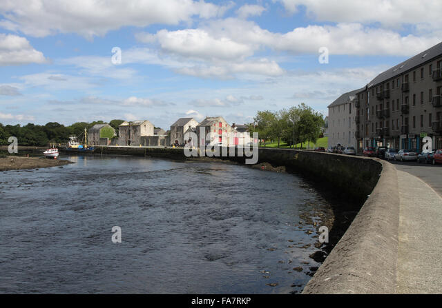 Harbour quay on River Lennon at Ramelton County Donegal Ireland. - Stock Image