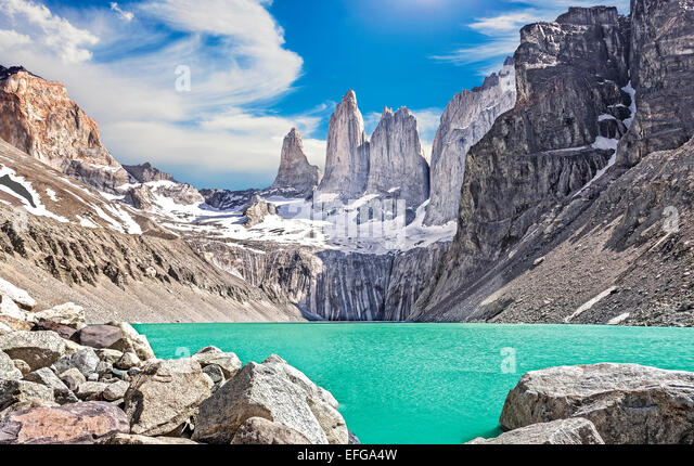 Torres del Paine mountains, Patagonia, Chile - Stock Image