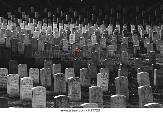 View Of Gravestones At Cemetery - Stock Image