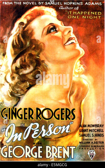 IN PERSON, US poster, Ginger Rogers, 1935. - Stock Image