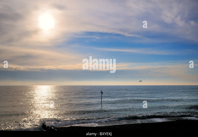 Sea skyline with horizon in winter sun Worthing Sussex England UK - Stock Image