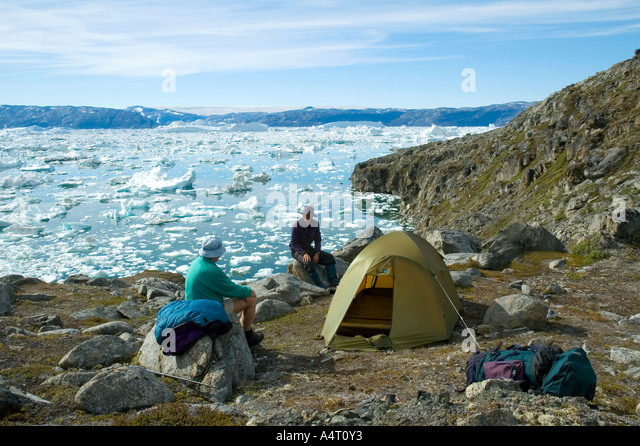 Camped by Sermilik Fjord, East Greenland - Stock Image