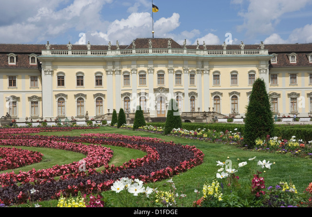 The 18th century Baroque Residenzschloss, inspired by Versailles Palace, Ludwigsburg, Baden Wurttemberg, Germany, - Stock-Bilder