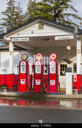 Pump,Alaska,Gas Station,Gustavus - Stock Image