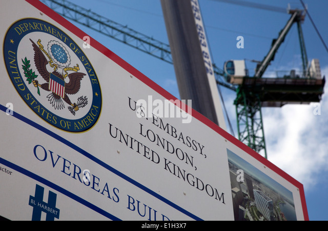 Construction site of new U.S. Embassy, Nine Elms, London - Stock Image