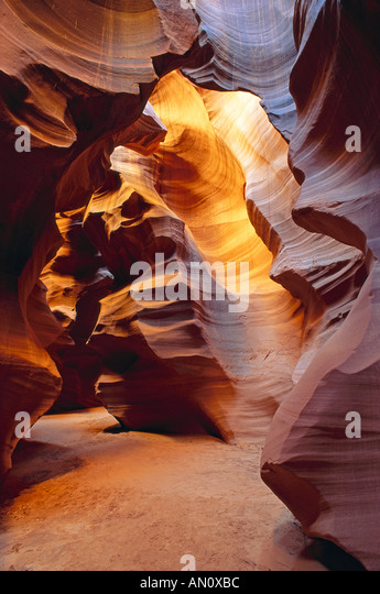 Delicate slickrock formations in upper Antelope Canyon Navajo Indian Reservation Arizona - Stock Image