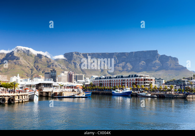 cape town v&a waterfront and table mountain - Stock Image