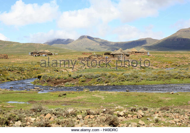 Africa, southern Africa, Lesotho, early Basutoland, province of Mokhotlong, Drakensberge, Sani pass, traditional - Stock Image