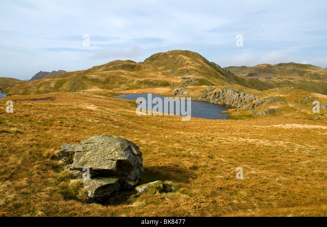 Moel Druman from Allt-fawr, in the Moelwyn hills, Snowdonia, North Wales, UK - Stock Image