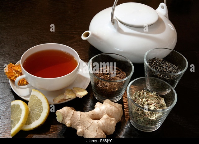 Tea still life with rooibos tea & teacup, teapot, lemon and ginger - Stock Image
