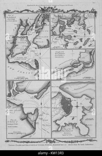 An image that consists of five separate drawings, plans appear for the Harbor of New York, Charleston, South Carolina - Stock Image