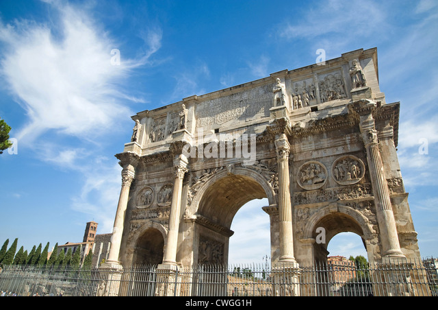 Rome, Italy - August 2012 - Arch of Constantine (Arco di Costantino) - Stock Image