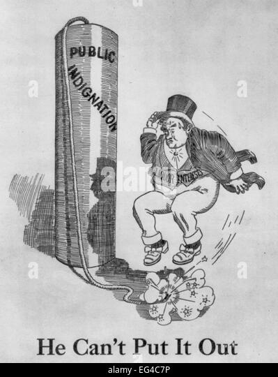 He Can't Put It Out - Well-dressed man ('Liquor Interests') trying to de-fuse huge firecracker ('Public - Stock Image