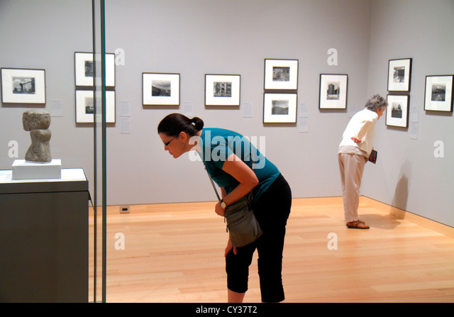 Boston Massachusetts Huntington Avenue Museum of Fine Arts collection photos photography black and & white woman - Stock Image