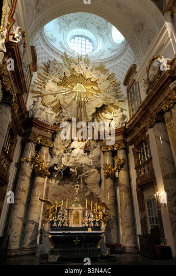 Interior St Charles or Karls Kirche church, Vienna, Austria - Stock Image