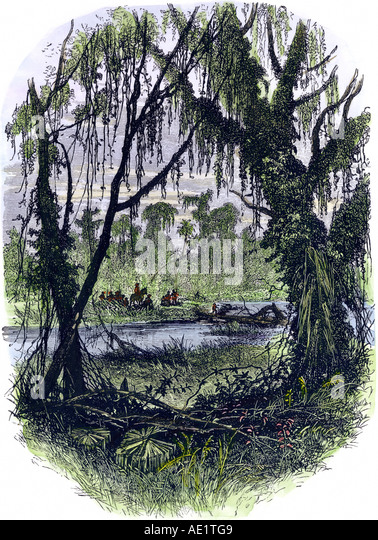 Early settlers in Georgia Colony - Stock Image