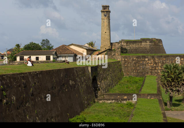 Galle Clock Tower (Anthonisz Memorial Clock Tower and the fortifications of Galle Fort, Galle, Sri Lanka - Stock Image
