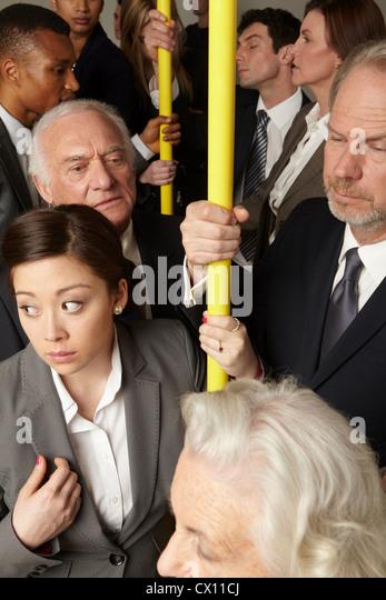 Crowded subway train - Stock Image