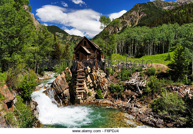 Crystal Mill in Marble Colorado i spring time - Stock Image