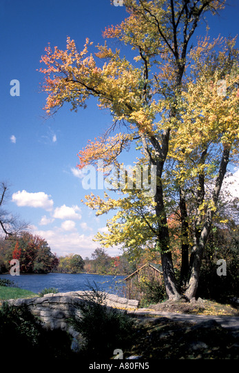 Fall autumn color stone bridge - Stock Image