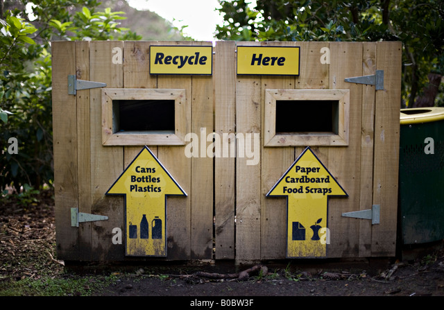 Recycling bins for the public at Wellington Zoo New Zealand - Stock Image