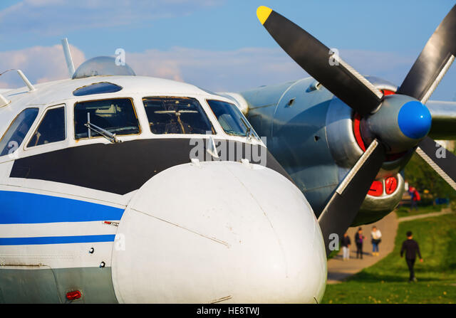 Close-up cabin and fuselage of an old passenger plane. - Stock Image