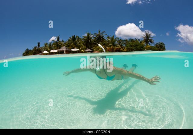Snorkeling at Kurumba Island, North Male Atoll, Indian Ocean, Maldives - Stock Image