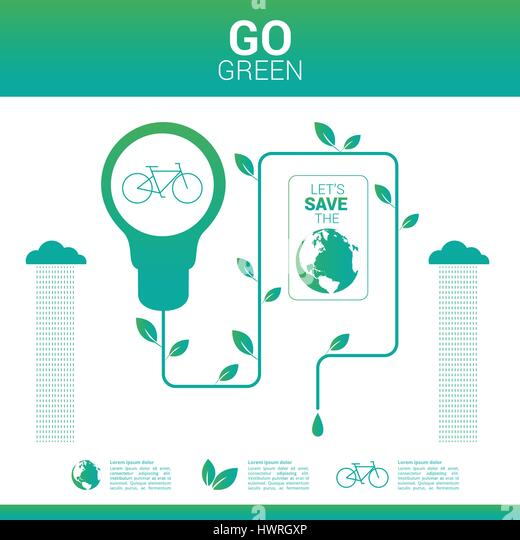 Go green environmentally friendly world - Stock Image