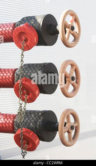 USA, New York City, Three valves in a row - Stock Image