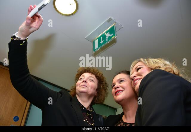 Armagh City, UK. 15th February 2017. Sinn Féin Election Candidates Caitríona Ruane, Party Leader Michelle - Stock Image