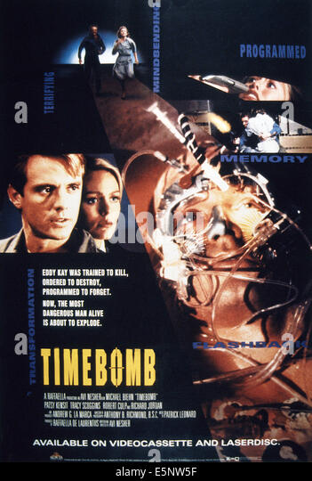 TIMEBOMB, US poster art, from left: Michael Biehn, Patsy Kensit, 1991. ©MGM/courtesy Everett Collection - Stock Image