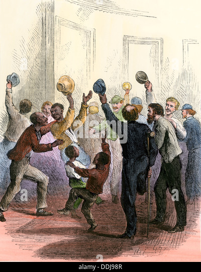 Citizens cheering inside the Capitol as the US Congress passes the 14th Amendment, 1866 (ratified 1868). - Stock-Bilder