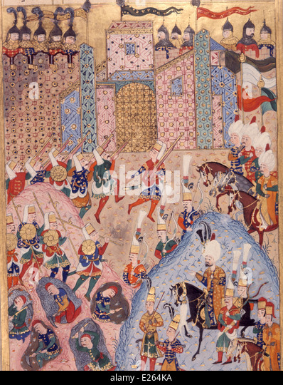 ottoman history,Suleiman the Magnificent storming a city,miniature of 16th century,istanbul,topkapi - Stock Image