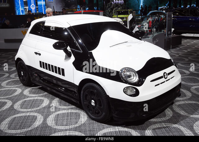 Detroit, Michigan, USA. 12th Jan, 2015. A Fiat 500e Stormtrooper concept car seen during the second press day at - Stock Image