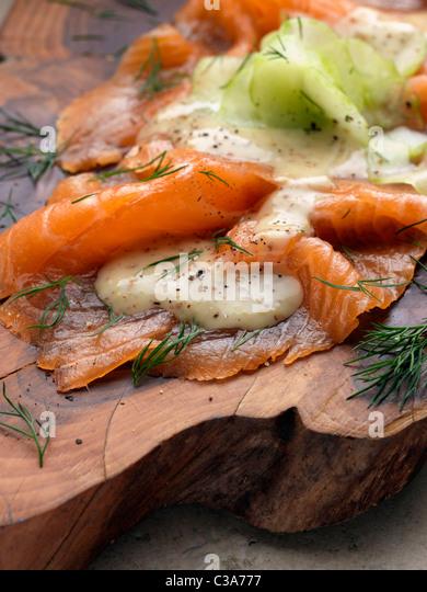 gravadlax smoked salmon - Stock Image