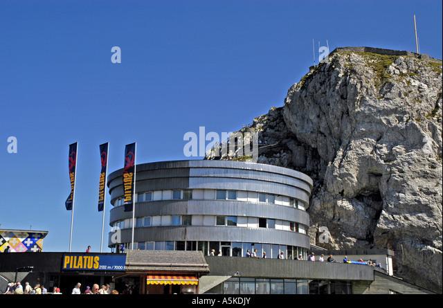 Lucerne luzern Switzerland aerial tram station atop Mount Pilatus - Stock Image