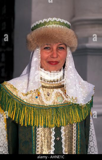 Russia Moscow Kolomenskoye Woman Wearing Traditional Costume - Stock Image