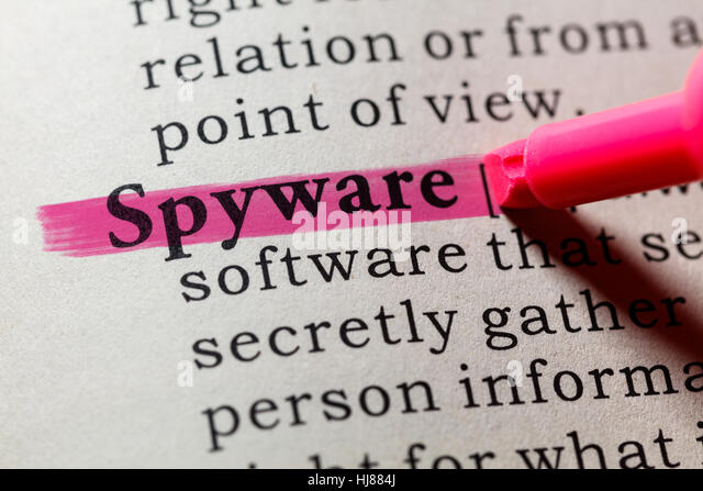 Fake Dictionary, Dictionary definition of the word spyware. including key descriptive words. - Stock Image